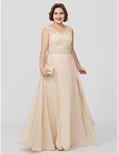 A-vonalú Hercegnő V-alakú Földig érő Sifon Sima csipke Örömanya ruha val vel Rátétek Pántlika / szalag által LAN TING BRIDE®