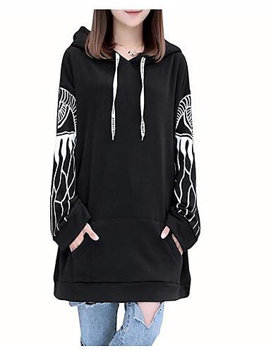 Damen Kapuzenshirt Lässig/Alltäglich Einfach Solide Druck Buchstabe Baumwolle