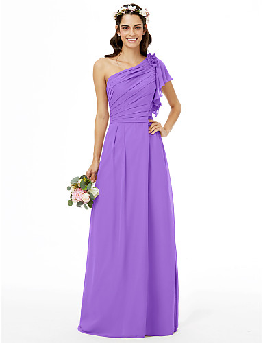 c8d779a71d1e Ίσια Γραμμή Ένας Ώμος Μακρύ Σιφόν Φόρεμα Παρανύμφων με Χάντρες   Λουλούδι   Πλαϊνό  Ντραπέ με LAN TING BRIDE®