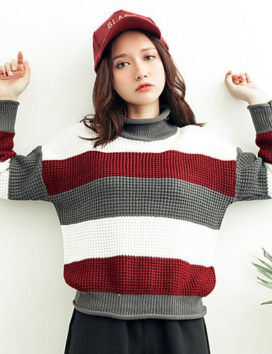 Damen Alltag Einfarbig Langarm Standard Pullover, Rollkragen Baumwolle Grau