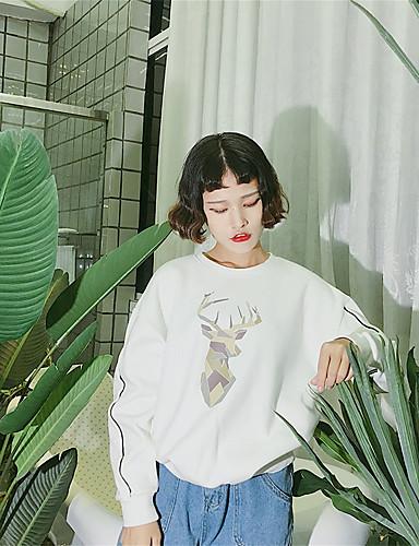 Damen Pullover Lässig/Alltäglich Einfach Druck Mikro-elastisch Baumwolle Herbst Winter