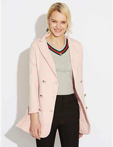 Women S Work Spring Fall Plus Size Regular Blazer Solid Colored V
