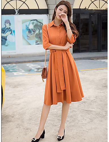 abordables Robes Femme-Femme Chic de Rue Mi-long Gaine Robe Couleur Pleine Col de Chemise Automne Hiver Noir Orange Kaki Manches 3/4