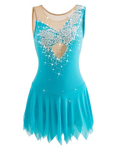 Eiskunstlaufkleid Damen / Mädchen Eislaufen Kleider Elasthan Strass / Applikationen / Blume Hochelastisch Leistung / Training
