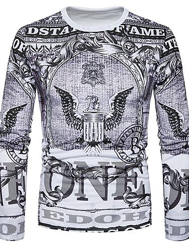 billige T-shirts og undertrøjer til herrer-Rund hals Herre - Tribal Trykt mønster T-shirt Navyblå L / Langærmet