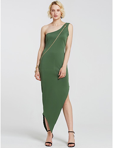 Women's Party Going out Club Vintage Sexy Bodycon Sheath Dress,Solid One Shoulder Maxi Sleeveless Spandex Summer High Rise Stretchy Medium