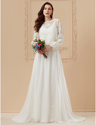 A-Line Bateau Neck Sweep   Brush Train Cotton   Sheer Lace   Corded Lace  Made-To-Measure Wedding Dresses with Appliques by LAN TING BRIDE®   Illusion  Sleeve dc092b699667