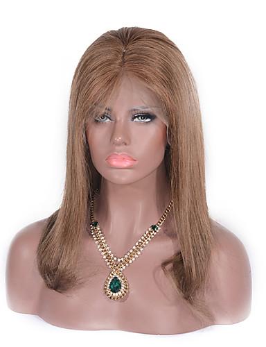 povoljno Perike s ljudskom kosom-Ljudska kosa Lace Front Perika Srednji dio stil Brazilska kosa Ravan kroj Wavy Perika 130% Gustoća kose 14 inch s dječjom kosom Prirodna linija za kosu Žene Kratko Srednja dužina Perike s ljudskom