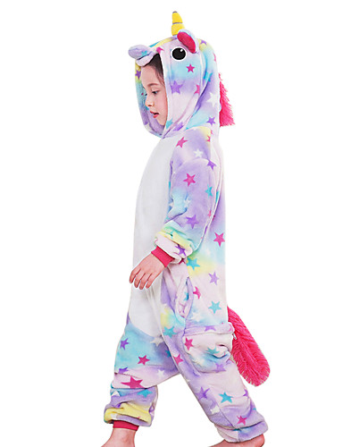 cheap Kigurumi Pajamas-Kid's Kigurumi Pajamas Unicorn Flying Horse Pony Onesie Pajamas Flannel Fabric Rainbow / Blue / Pink Cosplay For Boys and Girls Animal Sleepwear Cartoon Festival / Holiday Costumes
