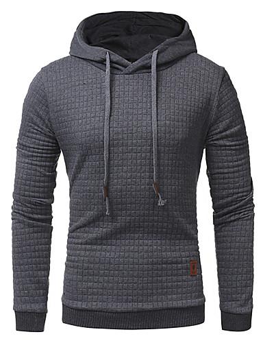 Męskie Rozmiar plus Sport Długi rękaw Bluza z Kapturem - Jendolity kolor