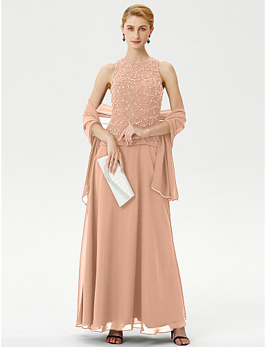 voordelige Wrap Dresses-A-lijn / Baljurk Met sieraad Tot de enkel Chiffon Bruidsmoederjurken met Kralen door LAN TING BRIDE® / Wrap inbegrepen