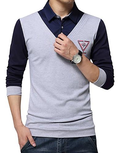 billige Herreskjorter-Herre - Geometrisk Bomuld Skjorte Navyblå XXXL / Langærmet / Efterår / Vinter