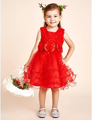 Γραμμή Α Μέχρι το γόνατο Φόρεμα για Κοριτσάκι Λουλουδιών - Δαντέλα / Σατέν / Τούλι / Με πούλιες / Πολυεστέρας Αμάνικο Με Κόσμημα με