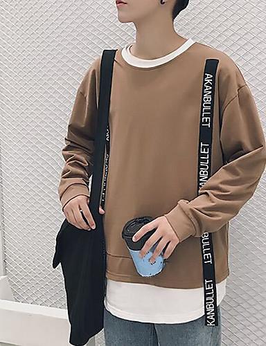Męskie Długi rękaw Bluzy - Jendolity kolor Okrągły dekolt