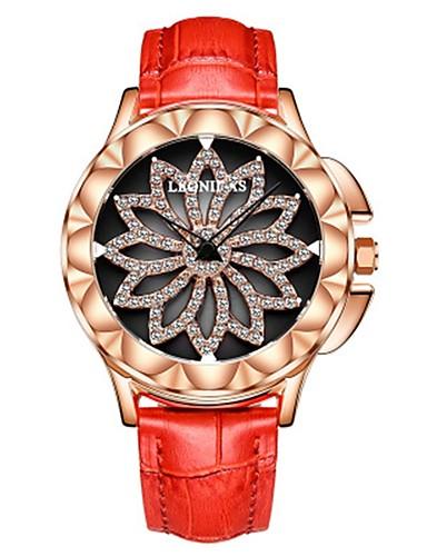 48f95025981 Mulheres Relógio de Pulso Relógio de diamante Japanês Quartzo Couro  Legitimo Preta   Branco   Vermelho 50 m Impermeável Cronógrafo Gravação Oca  Analógico ...