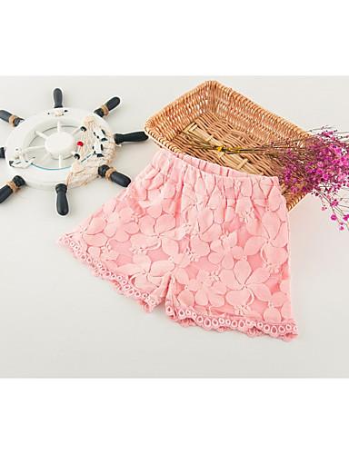 Szorty Bawełna Poliester Dla dziewczynek Jendolity kolor Wiosna Lato Prosty White Blushing Pink
