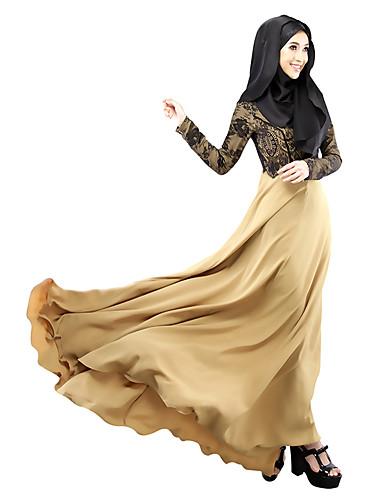 halpa Etniset & Cultural Puvut-Arabian mekko Abaya Kaftan mekko Jalabiya Naisten Ethnic Style Pitsi Pitkä Pituus Festivaali / loma Chinlon Beesi / Purppura / Vihreä Karnevaalipuvut Yhtenäinen