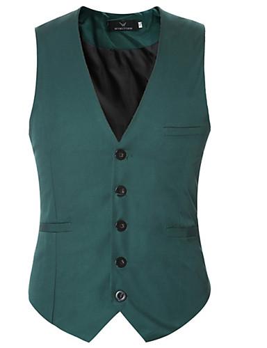 رخيصةأون سترات و بدلات الرجال-رجالي أزرق فاتح أخضر داكن أزرق البحرية XXXXL 5XL 6XL Vest لون سادة نحيل / بدون كم / الربيع / الخريف / رسمي