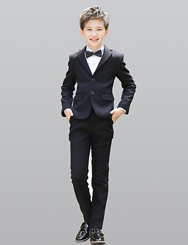 Černá 100% bavlna Oblek pro mládence - 5 Obsahuje Sako / pas / Vesta
