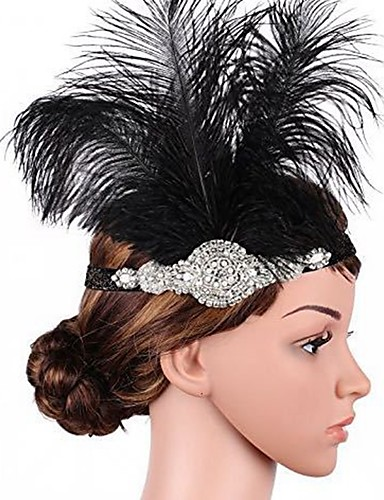 cheap Historical & Vintage Costumes-The Great Gatsby Flapper Headband 1920s / Roaring 20s Women's Black Rhinestone / Feather Party Prom Cosplay Accessories Masquerade Costumes