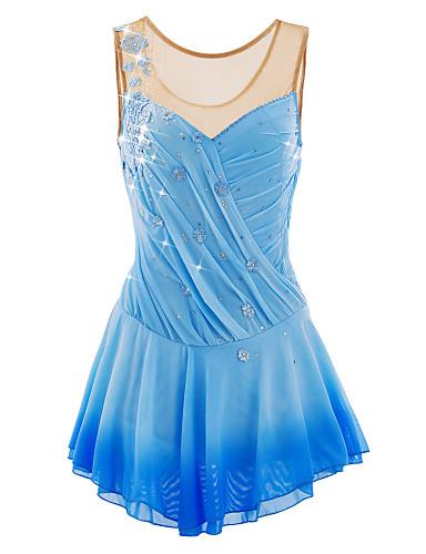 Eiskunstlaufkleid Damen / Mädchen Eislaufen Kleider Hellblau Elasthan Perle / Paillette Hochelastisch / Dehnbar Draussen / Athlässigkeit