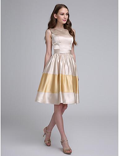 A-라인 바투 넥 무릎 길이 스트래치 새틴 신부 들러리 드레스 와 허리끈/리본 으로 LAN TING BRIDE®