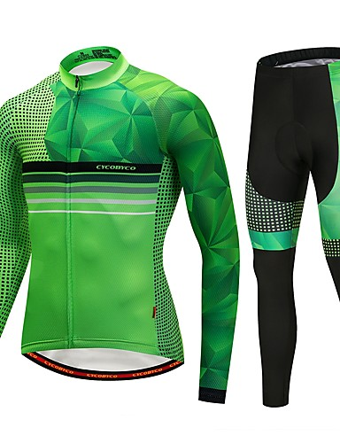 cheap Cycling Clothing-CYCOBYCO Men's Long Sleeve Cycling Jersey with Tights - Green Bike Pants / Trousers Jersey Tights 3D Pad Quick Dry Reflective Strips Sports Lycra Dots Mountain Bike MTB Road Bike Cycling Clothing