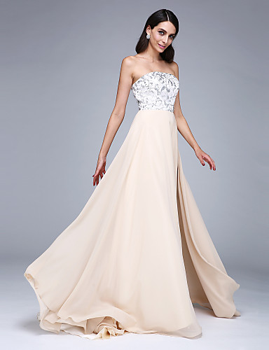 A-Line Strapless Court Train Chiffon Prom Formal Evening Dress with Split Front Sequins by TS Couture®