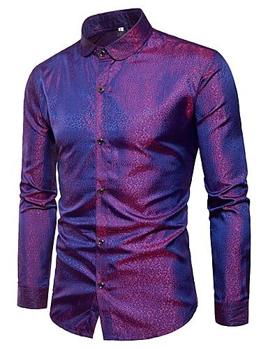 저렴한 드레스 셔츠-남성용 솔리드 슬림 자카드 - 셔츠, 사치 파티 / 클럽 면 골드 XL / 긴 소매 / 봄
