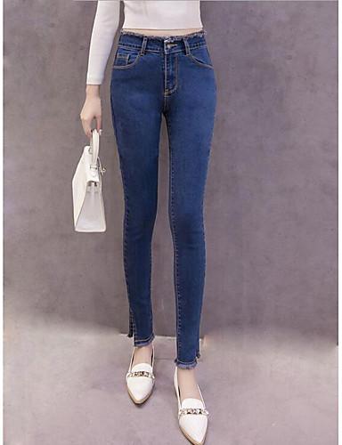מכנסיים ג'ינסים פוליאסטר מיקרו-אלסטי גיזרה בינונית (אמצע) אחיד פשוט סתיו בגדי ריקוד נשים