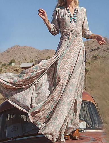 voordelige Maxi-jurken-Dames Grote maten Feestdagen Katoen Wijd uitlopend Jurk - Tribal, Print V-hals Maxi