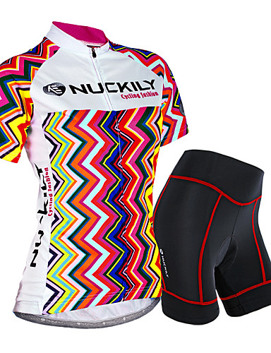 cheap Cycling Clothing-Nuckily Women's Short Sleeve Cycling Jersey with Shorts - Camouflage Stripes Bike Shorts Jersey Clothing Suit Waterproof Breathable 3D Pad Reflective Strips Sweat-wicking Sports Polyester Spandex