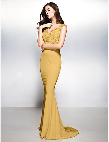 fe13701c3af1 Ίσια Γραμμή Λαιμόκοψη V Ουρά Ζέρσεϊ   Διάφανη δαντέλα Όμορφη Πλάτη Επίσημο  Βραδινό Φόρεμα με Διακοσμητικά Επιράμματα με TS Couture®