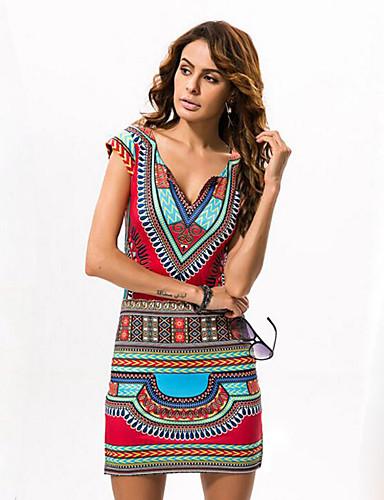 Γυναικεία Αργίες Κομψό στυλ street Εφαρμοστό Φόρεμα - Tribal 2c8ea2aa905