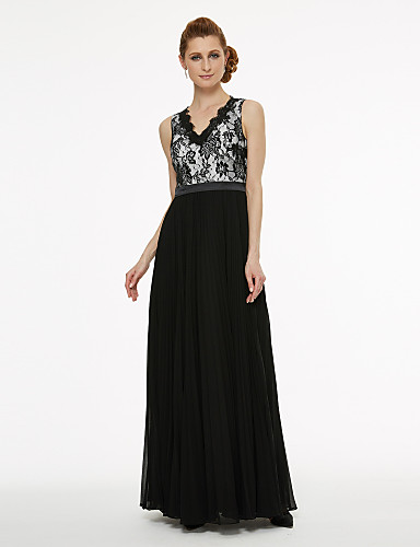 A-Line / Ball Gown V Neck Floor Length Chiffon / Corded Lace Mother of the Bride Dress with Appliques / Lace / Pleats by LAN TING BRIDE®