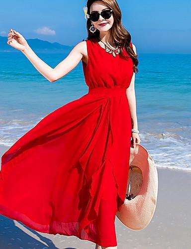 אדום מותניים גבוהים מקסי צבע אחיד - שמלה סווינג חגים בגדי ריקוד נשים / אביב