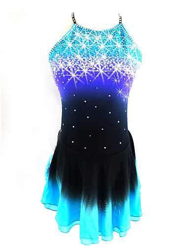 989eef345a03 Figure Skating Dress Women's Girls' Ice Skating Dress Black / Blue Open  Back Halo Dyeing Spandex Competition Skating Wear Sequin Sleeveless Figure  Skating