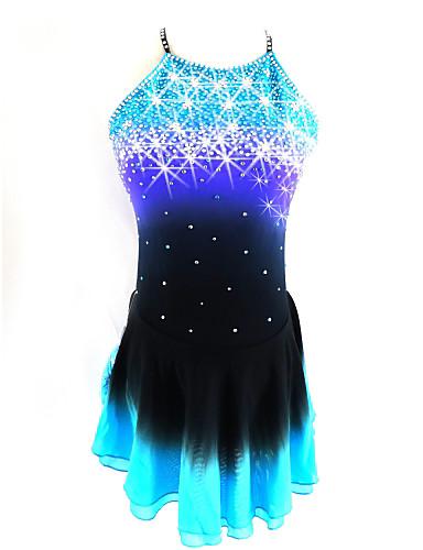 저렴한 아이스 스케이팅-피겨 스케이트 드레스 여성용 여아 아이스 스케이팅 드레스 블랙 / 블루 오픈백 헤일로 염색 스판덱스 경쟁 스케이트 의류 시퀀 민소매 피겨 스케이트