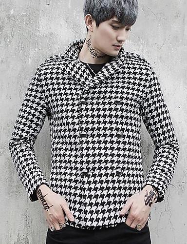 Houndstooth צווארון חולצה סגנון רחוב מעיל - בגדי ריקוד גברים, גדול / שרוול ארוך