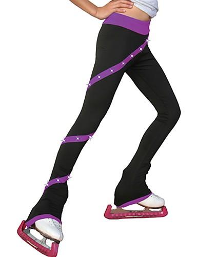 abordables Robe de Patinage-Pantalons de Patinage Artistique Femme Fille Patinage Pantalons / Surpantalons Bleu Rose Violet Spandex Elastique Entraînement Compétition Tenue de Patinage Couleur Pleine Manches Longues Patinage