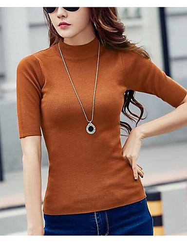 cheap Women's Sweaters-Women's Going out Solid Colored Short Sleeve Regular Pullover, Turtleneck Spring / Summer Camel / Navy Blue / Wine XXL / XXXL / 4XL