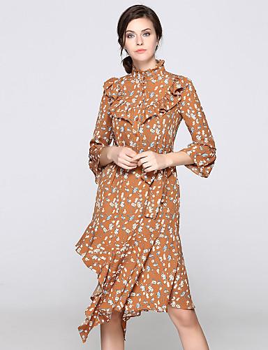 עומד קפלים Ruched דפוס, פרחוני - שמלה גזרת A נדן סווינג שרוול התלקחות בגדי ריקוד נשים