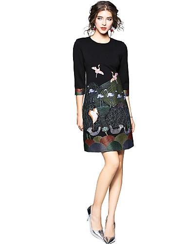 מעל הברך חיה - שמלה ישרה סגנון רחוב חגים בגדי ריקוד נשים