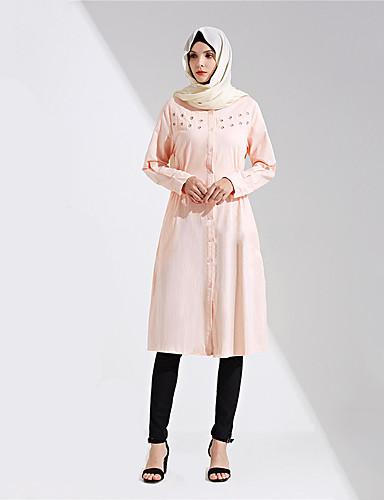 abordables Disfraces étnicas y culturales-Vestido árabe Burca Vestido de Kaftan Mujer Moda Festival / Celebración Algodón Azul / Rosa Traje carnaval Un Color