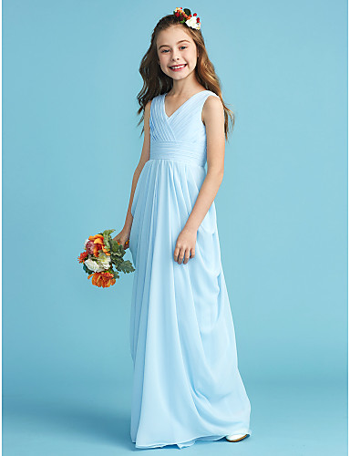 b352a1cc56095 A-Line / Princess V Neck Floor Length Chiffon Junior Bridesmaid Dress with  Sash / Ribbon / Criss Cross / Pleats by LAN TING BRIDE®