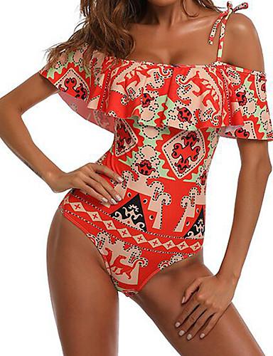 billige Dametopper-Dame Sexy Bohem Løse skuldre Svart Rød Bikinikjole Badetøy M L XL Svart