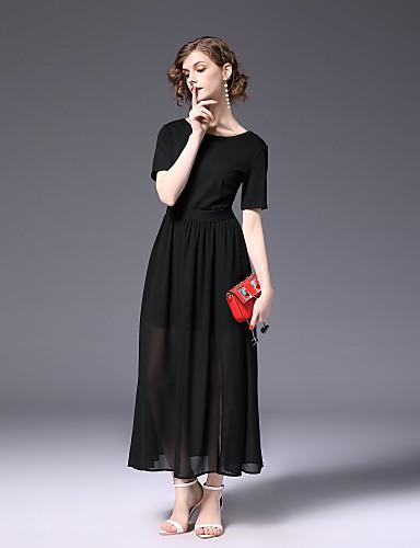 בסיסי, צבע אחיד - שמלה סווינג בגדי ריקוד נשים