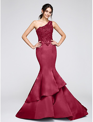 9c80a6b730 Mermaid / Trumpet One Shoulder Chapel Train Satin Formal Evening Dress with  Appliques by TS Couture®