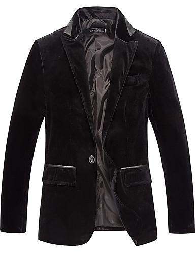 כותנה בגדי ריקוד גברים שחור סגול יין בלייזר Houndstooth / שרוול ארוך / סתיו / חורף