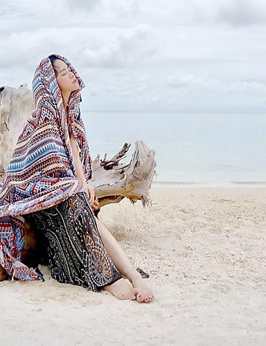 מלבן - צבעים מרובים, כותנה סגנון אמנותי קלסי ונצחי בגדי ריקוד נשים